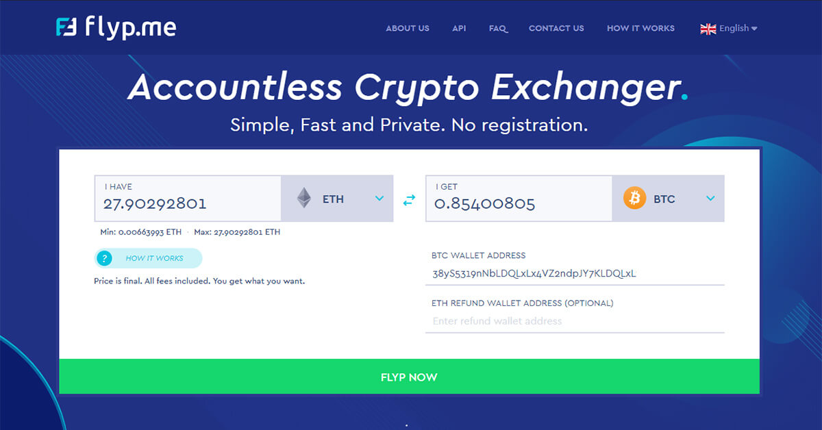 Accountless Crypto Exchanger. Simple, Fast and Private | Flyp.me